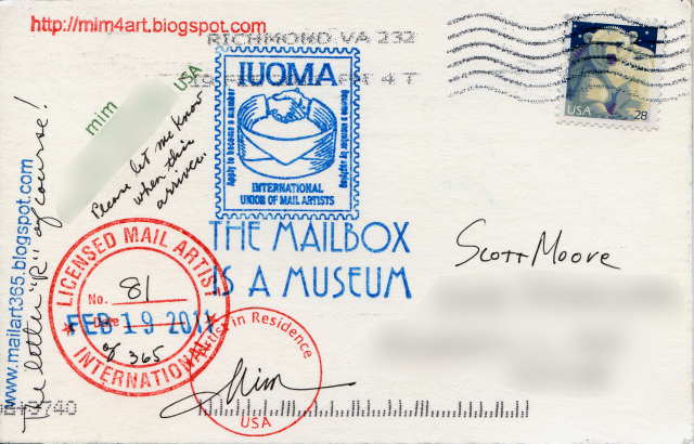 The back of her postcard has me wishing for customized stamps!